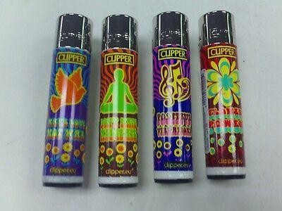 4 PACK OF CLIPPER LIGHTER REFILLABLE 60'S STYLE FLOWER POWER HAPPY LOVE - Flower Power 60's Fashion
