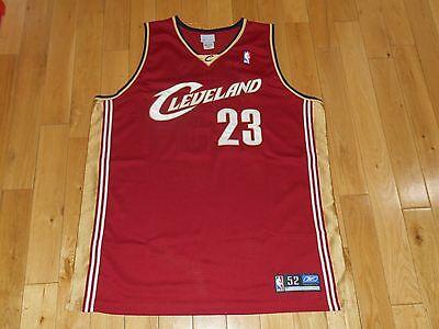 f972df2b2 2004 Reebok LEBRON JAMES CLEVELAND CAVALIERS Cavs Authentic NBA Rookie  JERSEY 52