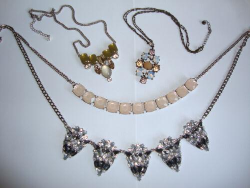 Teen Jewelry LOT Chunky Rhinestone Necklace Vtg Victorian Style Pendants Bib