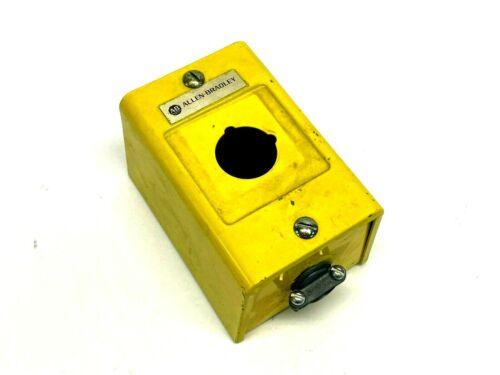 "Allen Bradley 800h-1hz 1 Pushbutton Enclosure Painted Yellow 4-1/2"" X 3"" X 3"""