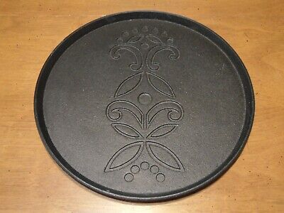 IKEA Cast Iron Charger Plate Tray Round Black Floral Design 10 1/4