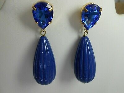 Stone Dangle Pierced Earrings (ZENZ 11 pierced Earrings Blue Stone and Dangle Blue Bead )