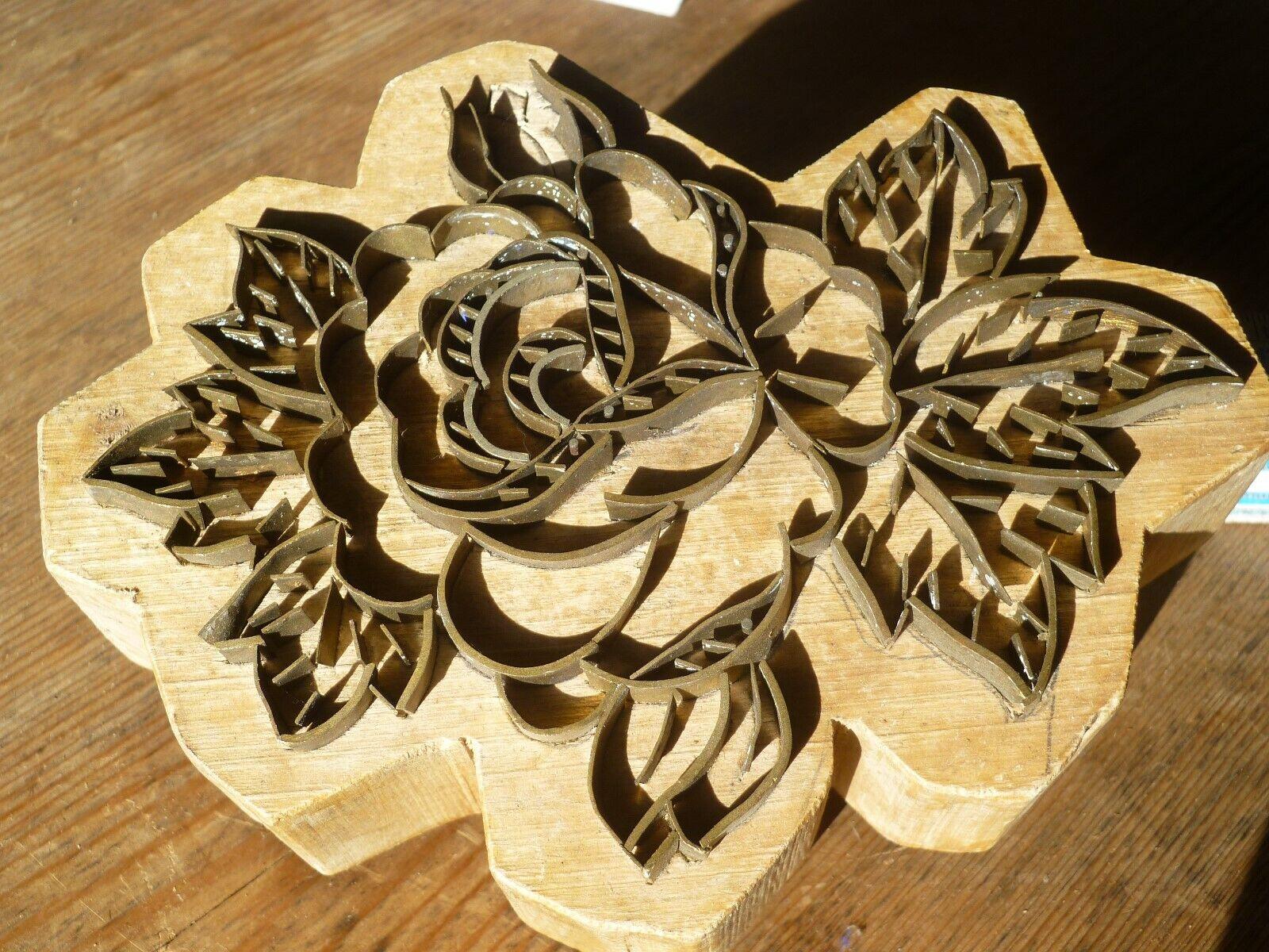 Druckstock Stempel Antik ca 1900 Motiv Blume Messing Holz sehr schön