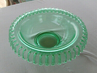 Vintage Green Depression Glass Bowl Ribbon Edge Rim
