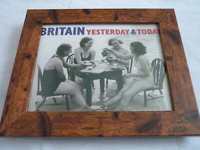 Britain yesterday & today Black white carlton B/w Framed sitting in sea ladys