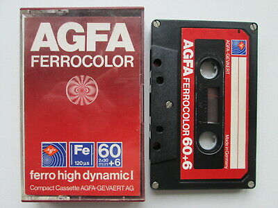 AGFA VINTAGE AUDIO TAPE 60+6 FERROCOLOR high dynamic I CASSETTE W GERMANY red