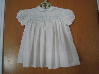 Vintage BABY 6-9 Month White & Mint Green SMOCKED DRESS Jos Horne Co ~ Italy