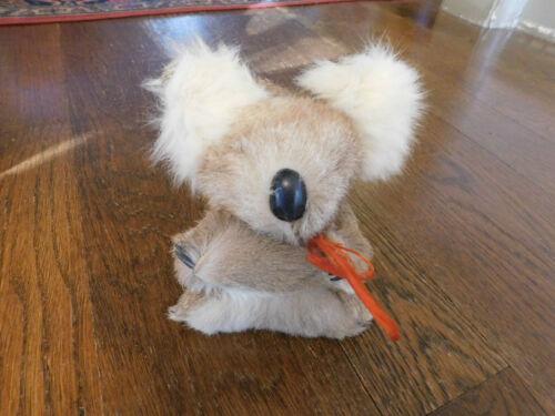 "Vtg fluffy Rabbit Fur little 5"" Koala bear Plastic Claws plush Animal Toy doll"