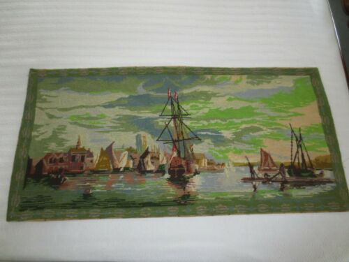 "Handmade VIEW OF DORDRECHT by Aelbert Cuyp FINE NEEDLEPOINT Tapestry - 21"" x 44"""
