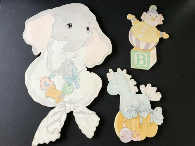 Vintage Morgan Elephant Pressed Paper HangingWall Art, Infant-Nursery FREE SHIP