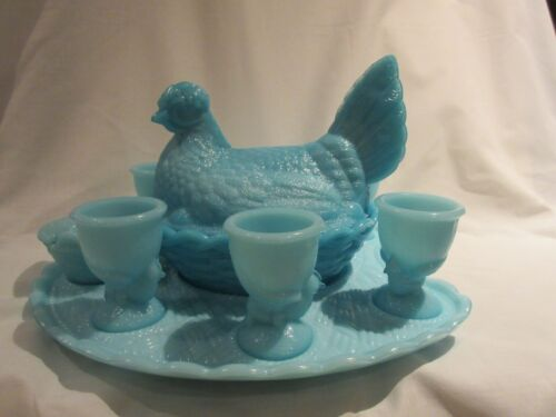 Vallerysthal Blue Opaque Breakfast Set with PV France Hen on Nest  Rare Find EUC