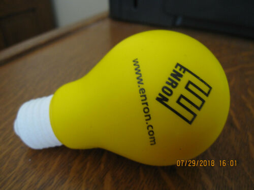 NEW-VERY RARE--ENRON CORP Light Bulb Shaped Stress Reliever--ASK WHY