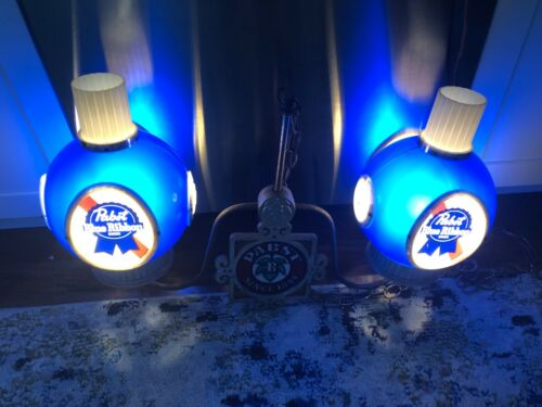 Vintage PABST BLUE RIBBON BEER Hanging Ceiling Double Light Plastic Globe