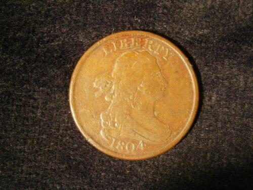 1804 Draped Bust Half Cent Crosslet 4 Stems C-1