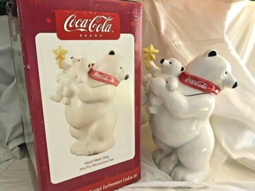 Coca-Cola Polar Bear Family Cookie Jar Adult & Baby with Star Original MIB Coke