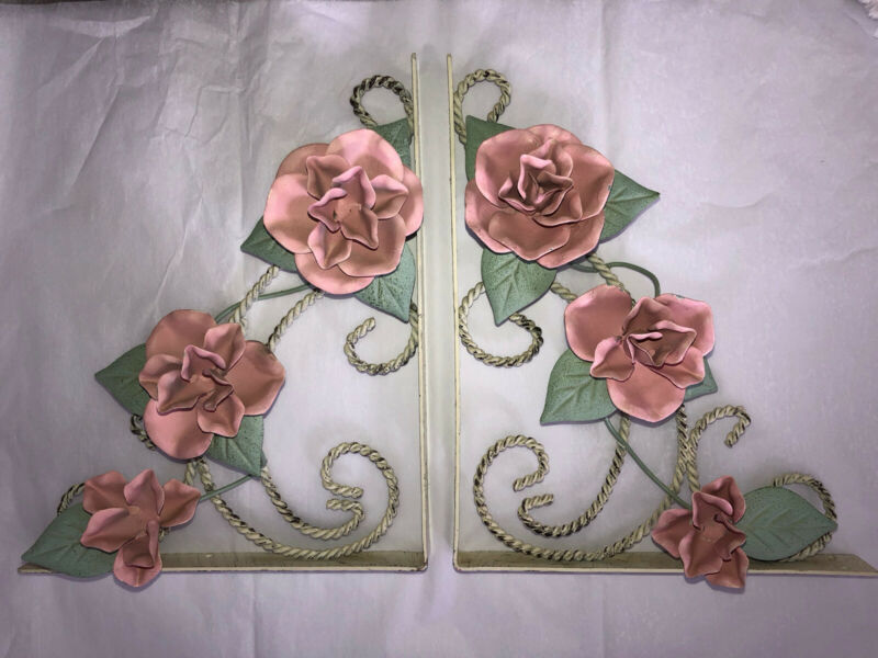 "Pair Of Metal Pink Roses Shelf Brackets Toleware Italian Cottage Style 8""X10"""