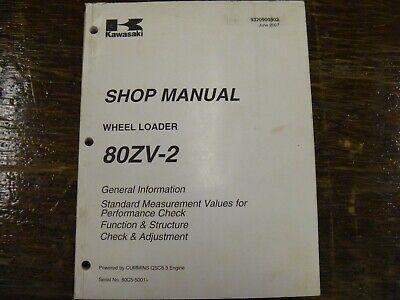 Kawasaki 80zv-2 Wheel Loader Adjustment Shop Service Repair Manual