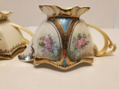 GORGEOUS RARE RS PRUSSIA CREAMER & SUGAR MARKED GOLD TRIM