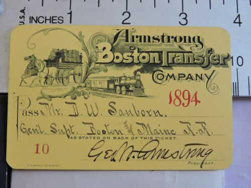RARE 1894 Armstrong Boston & Maine B&M Transfer Company Railroad Ticket Pass