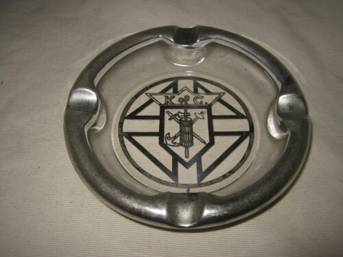 "Knights of Columbus 5 3/4"" Glass Ashtray w/ Silver Emblem & Chrome Rim - Vintage"