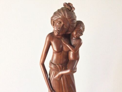 "Vintage Woman and Child Bali Wood Sculpture Carving Art Deco 13 5/8"" Wajan Rank"