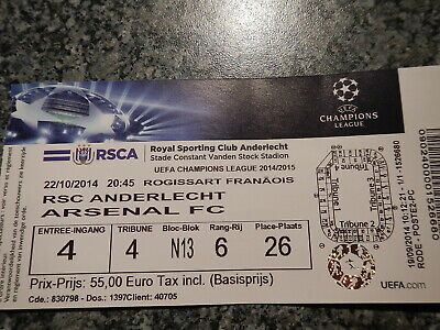 Ticket: Anderlecht - Arsenal FC UEFA Champions League (22-10-14)
