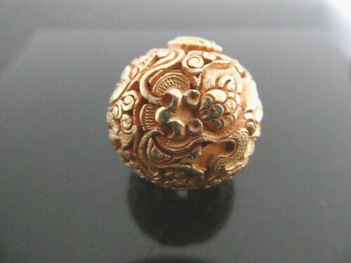 Vintage Nepal Dragon Gold Plated Copper 24mm Round Intricate Filigree- One Bead