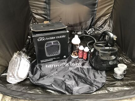 Spray tan machine, tent, extractor fan and products