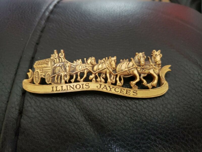 Illinois Jaycees Vintage Clydesdale Horse Carriage Pewter Lapel Pin