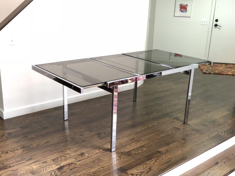 Mid Century Modern Milo Baughman Chrome Dining Table
