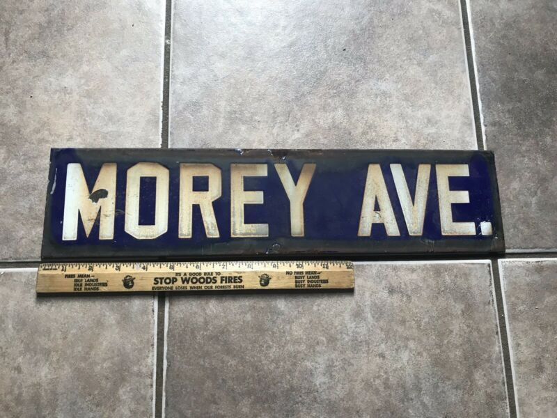 Porcelain Street Sign Enamel Metal Morey Ave. In Blue White Letters Vintage