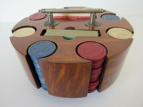 Semi-antique poker chip / card caddy in walnut