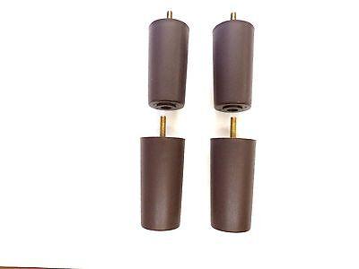 Round Dark Brown Plastic 4 Furniture Legs Sofa Chair Loveseat Ottoman  4 Legs