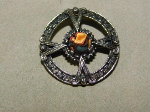 Celtic Maltese Cross Silver tone Scottish Faux Agate Cab Brooch Pin 1i 77
