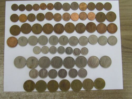 Lot of 74 Different Old Ireland Decimal Coins - 1969 to 2000 - Circulated