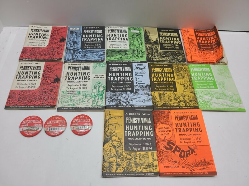 Old PA Fishing Licenses Buttons and Hunting / Trapping Regulation Booklets