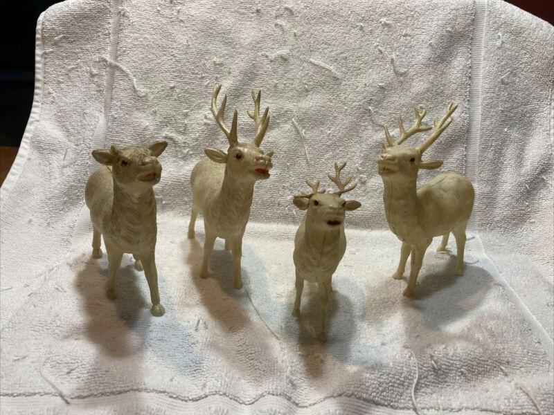 3 Lg/1 Sm Vintage Celluloid Standing Reindeer Rhinestone Eye Japan