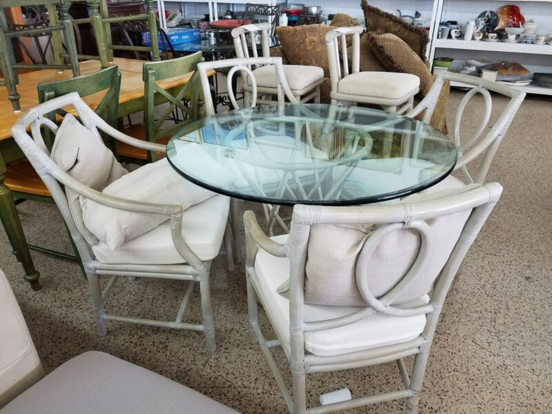 FABULOUS MCGUIRE RATTAN DINING TABLE AND 4 CHAIRS