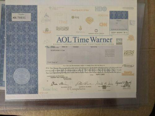 AOL Time Warner stock certificate