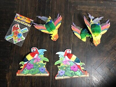 Vintage Honeycomb Parrot Hanging Luau Party Decorations Lot Cardboard - Vintage Luau Decorations