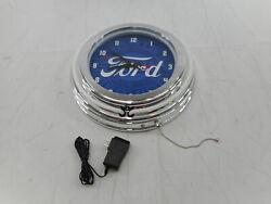 Trademark Gameroom FD1400-FGP - Ford Double Rung Neon Clock, Chrome