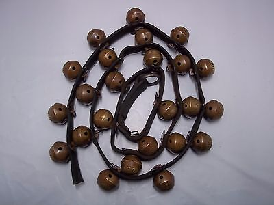 "24 VINTAGE NO.1 BRASS SLEIGH / JINGLE BELLS ON 63"" LEATHER STRAP"