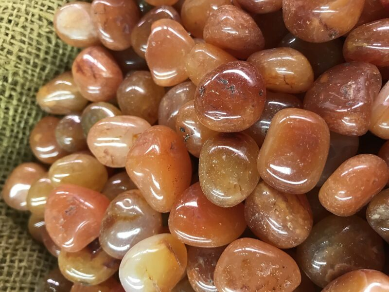 500 Carat Lots of Polished Tumbled Carnelian + FREE Faceted Gemstone - High End