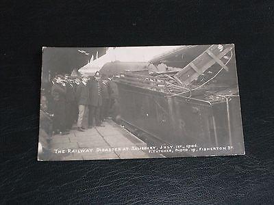 ORIGINAL REAL PHOTO POSTCARD - RAILWAY DISASTER AT SALISBURY - JULY 1ST 1906.