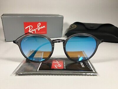 Authentic Ray-Ban Round Flat Sunglasses Purple Gray Blue Flash Lens (Cheap Authentic Ray Bans)