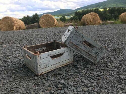 Vintage Antique Wooden Milk Bottle Crate Box Schoharie Trilby Dairy Farms Blue