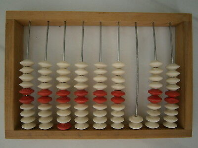 Vintage Russian Counting Frame Wooden Abacus Red White Beads Soviet Trader USSR for sale  Shipping to United States