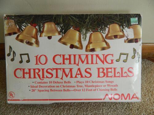Vtg 1990 in Box Noma 10 Chiming Christmas Bells Plays 10 Carols Caroling Works!