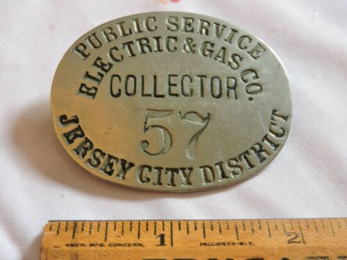 Rare 1900 PSNJ Electric & Gas New Jersey City Trolley Collector Badge
