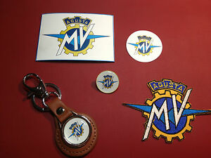 Mv agusta motorcycles set leather key ring badge magnet sticker patch